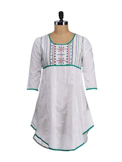 White & Green Embroidered Asymmetric Kurta - SATTYAA