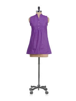Sleeveless Purple Short Kurti - SATTYAA