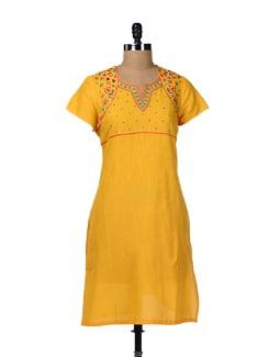 Embroidered Yellow Kurta - Aurelia