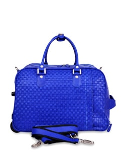 Bright Blue Duffel Trolley Bag - Brune