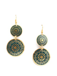 Navy Blue & Gold Circle Drop Danglers - Accessory Bug