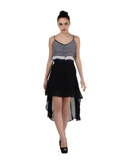 Black Sheer Graduating Hemline Skirt - Miss Chase