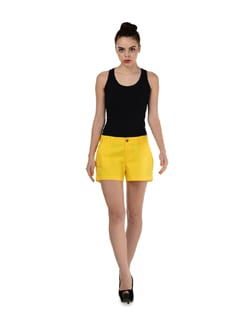 Yellow Casual Shorts - Miss Chase