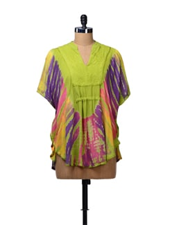 Green Tie Dye Kaftan Top - MOTHER EARTH