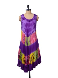Purple Tie Dye Beach Tunic - MOTHER EARTH