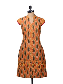 Long Rust Kurta With Front Slit - MOTHER EARTH