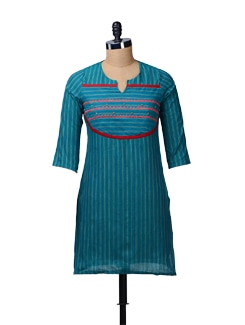 Teal Blue Striped Short Kurti - MOTHER EARTH