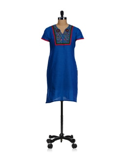 Elegant Blue Embroidered Kurta - WILD WOMAN
