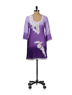 Ombre Purple Embroidered Kurta - WILD WOMAN
