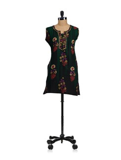 Bottle Green Embroidered Kurta - WILD WOMAN