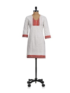 White & Red Printed Yoke Kurta - WILD WOMAN