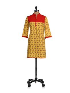 Yellow Cross Pintuck Yoke Kurta - WILD WOMAN