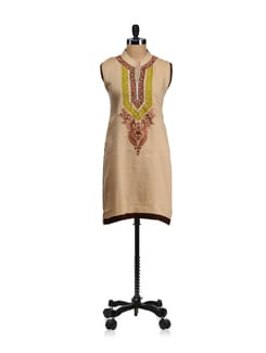 Beige Pearl Embroidered Kurta - WILD WOMAN