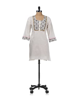 Black & White Printed Yoke Kurta - WILD WOMAN
