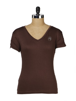 Brown Slim Fit Dolphin Tee - MARTINI