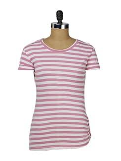 White & Pink Striped Tee - MARTINI