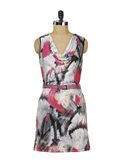 Printed Black & Pink Cowl Neck Dress - MARTINI