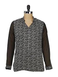 Black Zip-up Chiffon Shirt - MARTINI