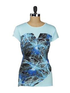 Aqua Blue Printed Top - MARTINI