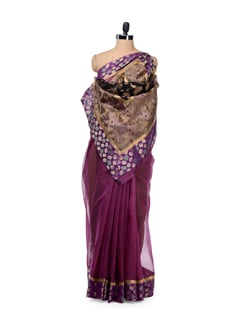 Purple Designer Supernet Cotton Silk Saree - Bunkar