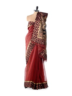 Maroon Designer Supernet Cotton Silk Saree - Bunkar