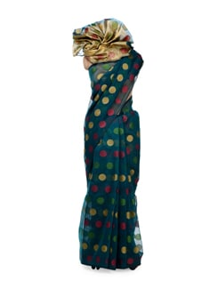 Teal Green Polka Cotton Silk Saree - Bunkar