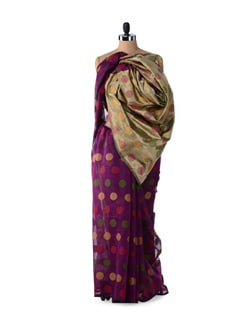 Purple Supernet Cotton Silk Saree - Bunkar