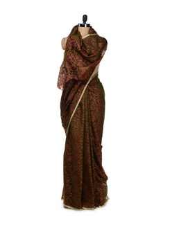 Floral Brown-Green Supernet Saree - Bunkar
