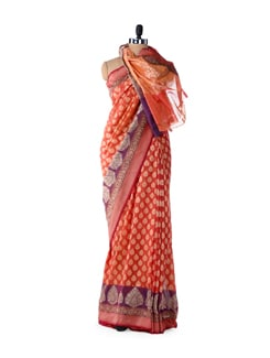 Designer Orange Cotton Silk Saree - Bunkar