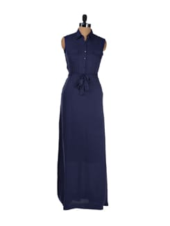 Patriot Blue Shirt Maxi Dress - Femella
