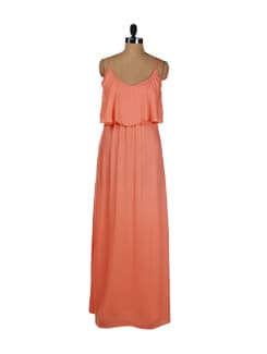 Strappy Coral Front Ruffle Maxi Dress - Femella