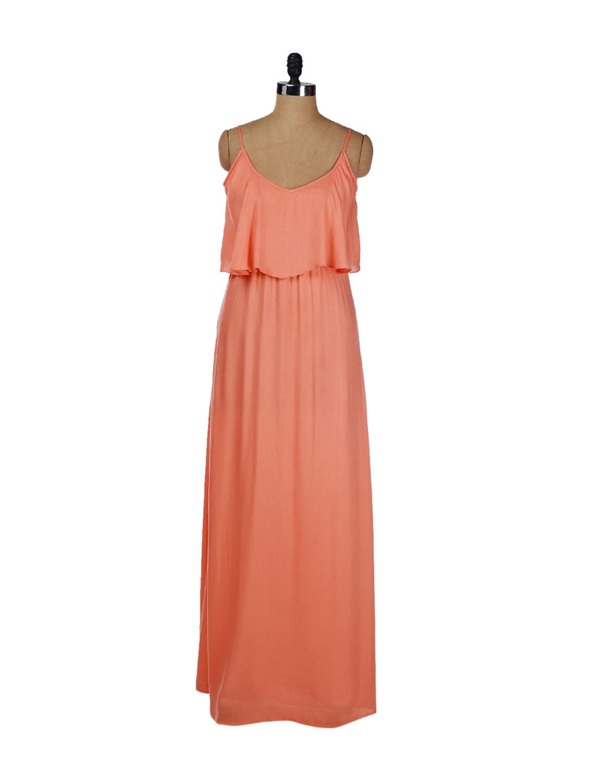 Strappy Coral Front Ruffle Maxi Dress - Femella