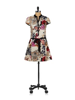 Floral Printed Belted Tunic - Ayaany