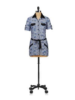 Floral Blue Belted Tunic - Ayaany