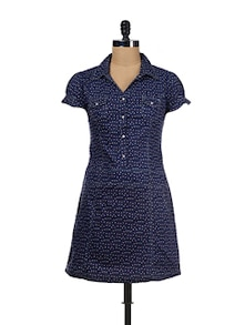Polka Dotted Shirt Dress - Ayaany