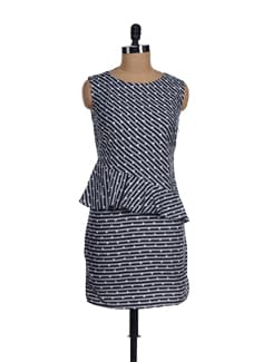 Black & Grey Star-striped Peplum - I KNOW By Timsy & Siddhartha