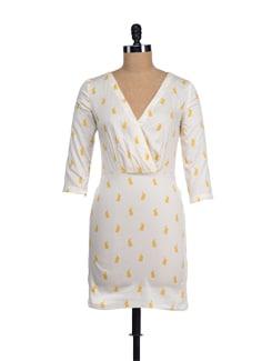 Cutesy Beige-yellow Rabbit Print Dress - I KNOW By Timsy & Siddhartha