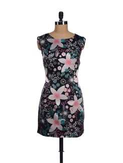 Black Flower Print Satin Dress - I KNOW By Timsy & Siddhartha