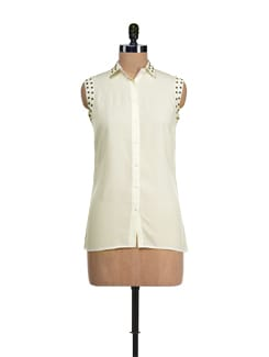 Studded Off-white Sleeveless Shirt - I KNOW By Timsy & Siddhartha