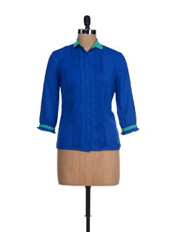 Stylish Blue & Green Pleated Top - I KNOW By Timsy & Siddhartha