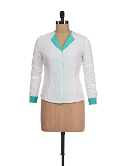 Stylish Cream Top With Green Lapel - I KNOW By Timsy & Siddhartha