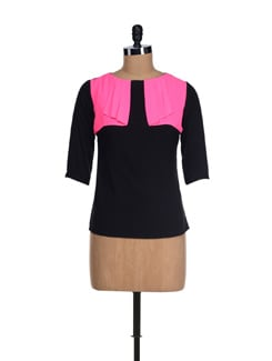 Black & Pink Falling Yoke Top - I KNOW By Timsy & Siddhartha