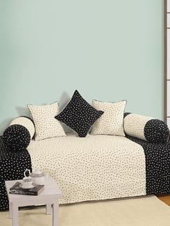 Black And White Printed Diwan Set - SWAYAM