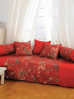 Rich Red Paisley Print Diwan Set - SWAYAM