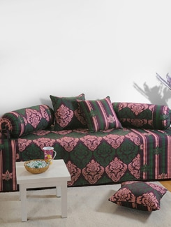 Pink And Green Ornate Print Diwan Set - SWAYAM