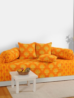 Yellow And Orange Printed Diwan Set - SWAYAM