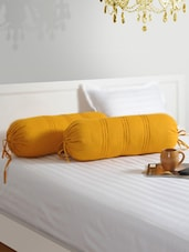 Yellow Bolster Covers (Set Of 2) - SWAYAM