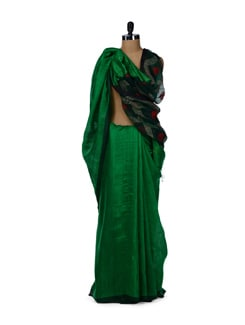 Emerald Green Silk Saree - Story Of Weaves