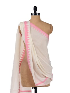 Pretty White And Pink Scarf - Story Of Weaves