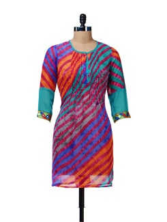 Multicolor Leheriya Kurta - Rain And Rainbow